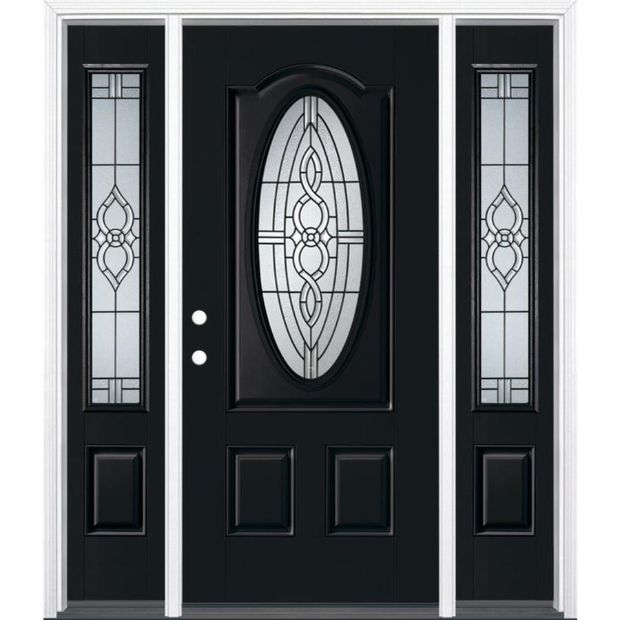Masonite Calista Decorative Glass Right-Hand Inswing Peppercorn Painted Fiberglass Prehung Entry Door with Sidelights and Insulating Core (Common: 64-in x 80-in; Actual: 37.5-in x 81.625-in)