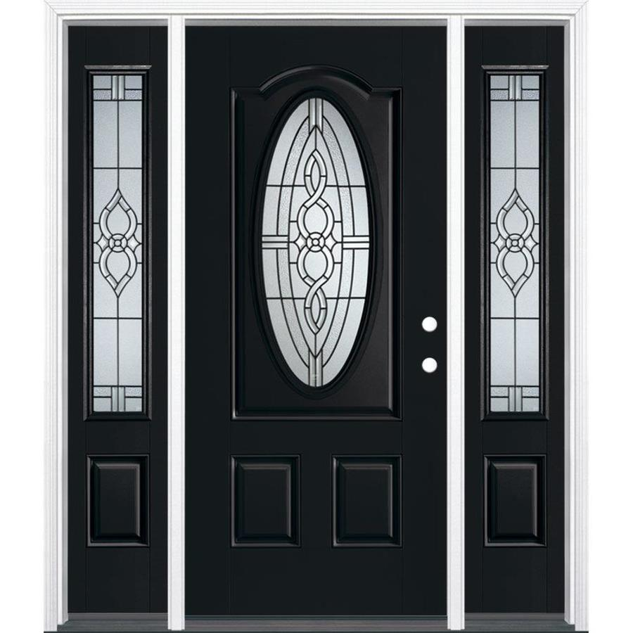 Masonite Calista Decorative Glass Left Hand Inswing Peppercorn Fiberglass  Painted Entry Door (Common: