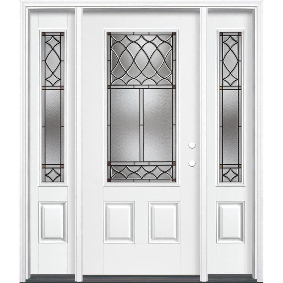 Shop masonite sheldon decorative glass left hand inswing for Fiberglass entry doors with sidelights