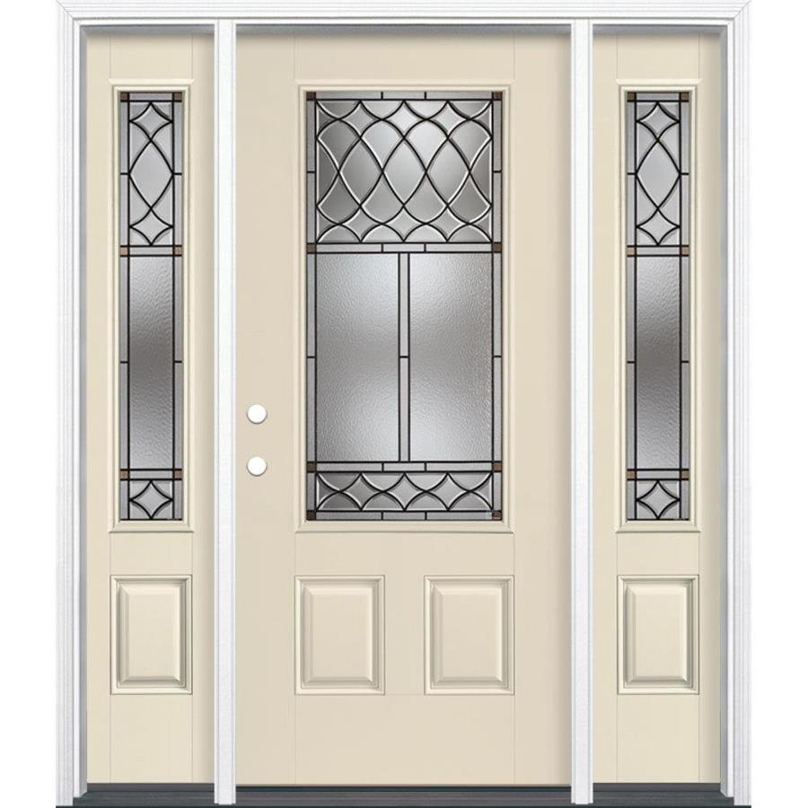 Masonite Sheldon Decorative Glass Right-Hand Inswing Bisque Painted Fiberglass Prehung Entry Door with Sidelights and Insulating Core (Common: 64-in x 80-in; Actual: 37.5-in x 81.625-in)