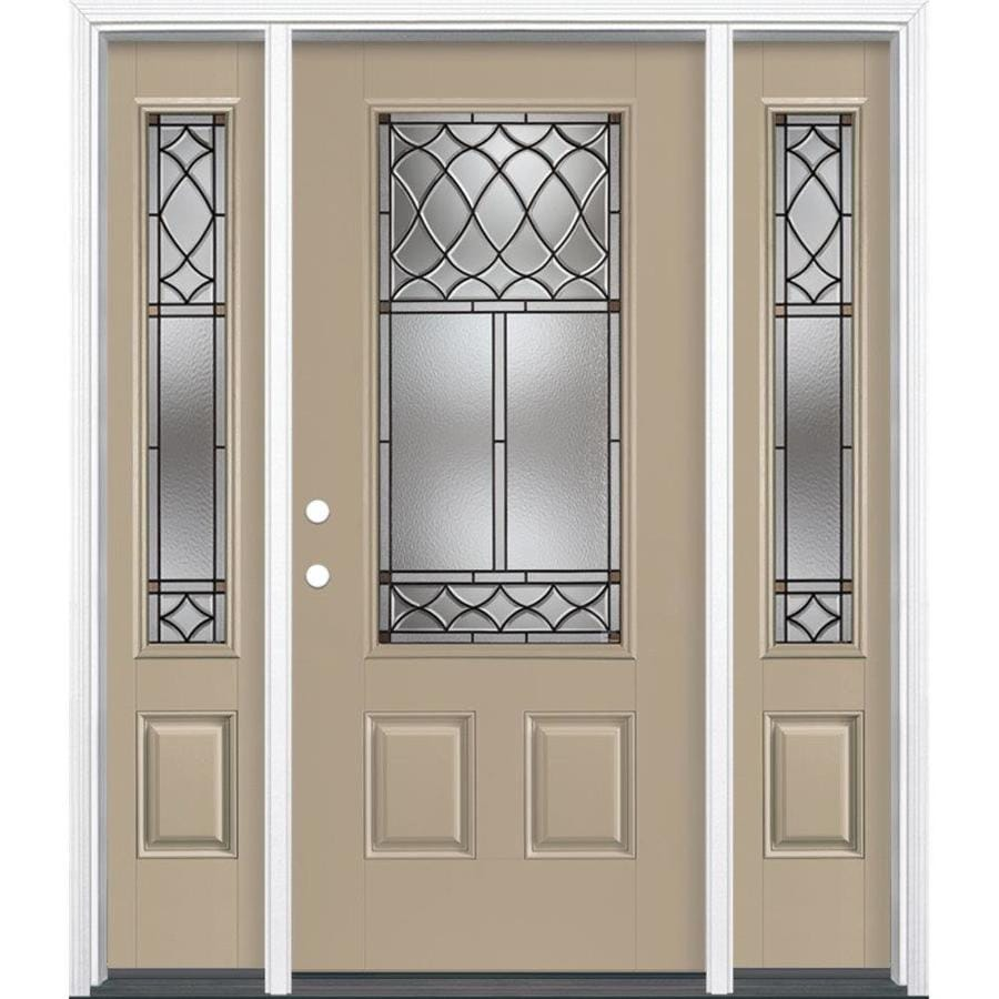 Masonite Sheldon Decorative Glass Right-Hand Inswing Sandy Shore Painted Fiberglass Prehung Entry Door with Sidelights and Insulating Core (Common: 64-in x 80-in; Actual: 37.5-in x 81.625-in)