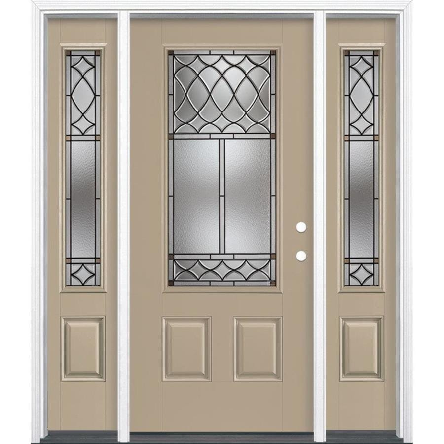 Masonite Sheldon Decorative Glass Left-Hand Inswing Sandy Shore Painted Fiberglass Prehung Entry Door with Sidelights and Insulating Core (Common: 64-in x 80-in; Actual: 37.5-in x 81.625-in)