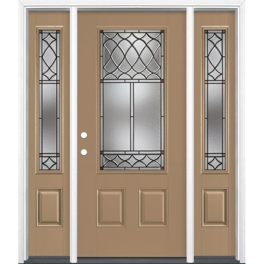 Masonite Sheldon Decorative Glass Right-Hand Inswing Warm Wheat Painted Fiberglass Prehung Entry Door with Sidelights and Insulating Core (Common: 64-in x 80-in; Actual: 37.5-in x 81.625-in)