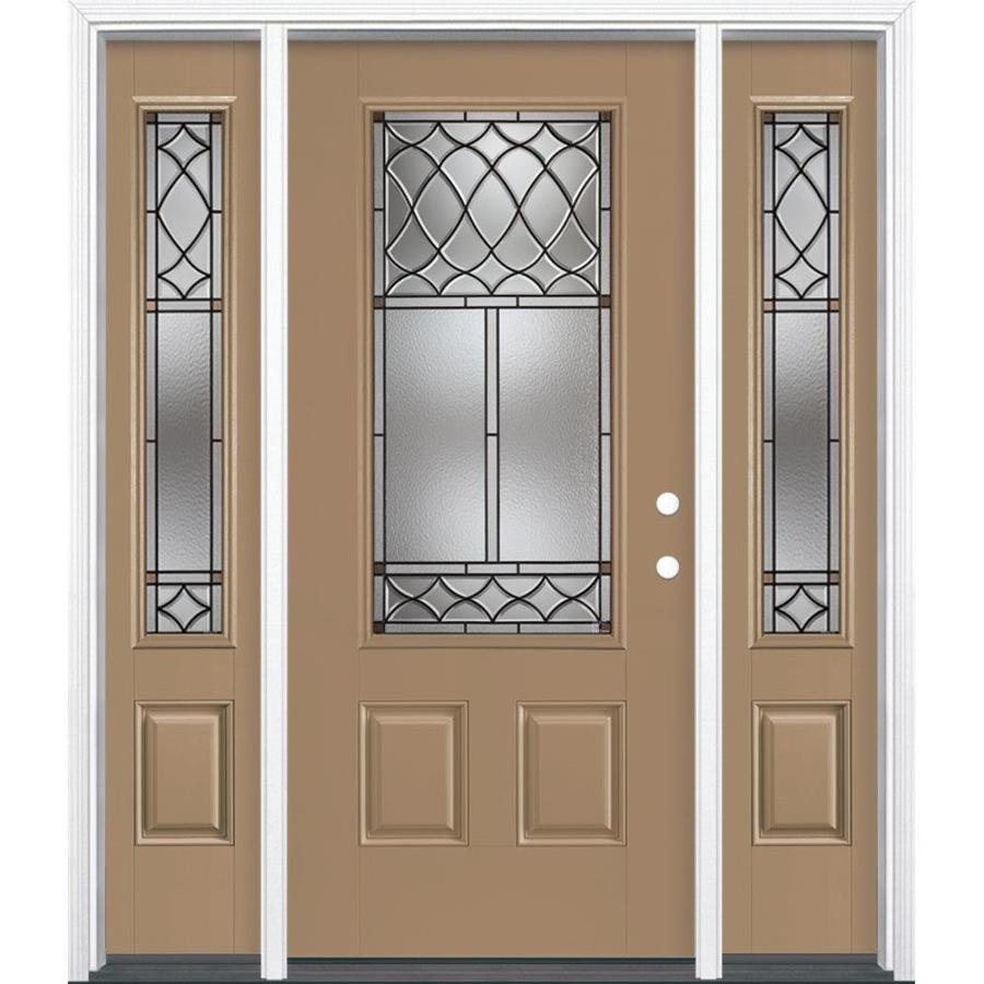 Masonite Sheldon Decorative Glass Left-Hand Inswing Warm Wheat Painted Fiberglass Prehung Entry Door with Sidelights and Insulating Core (Common: 64-in x 80-in; Actual: 37.5-in x 81.625-in)