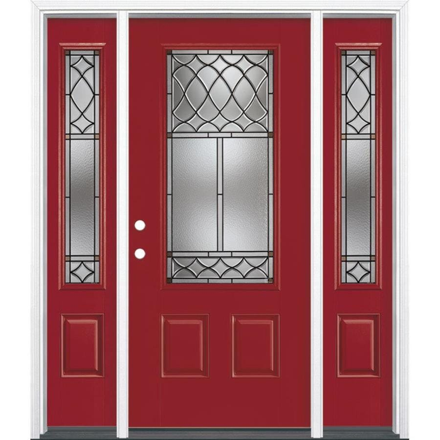 Shop masonite sheldon decorative glass right hand inswing for Fiberglass entry doors with sidelights