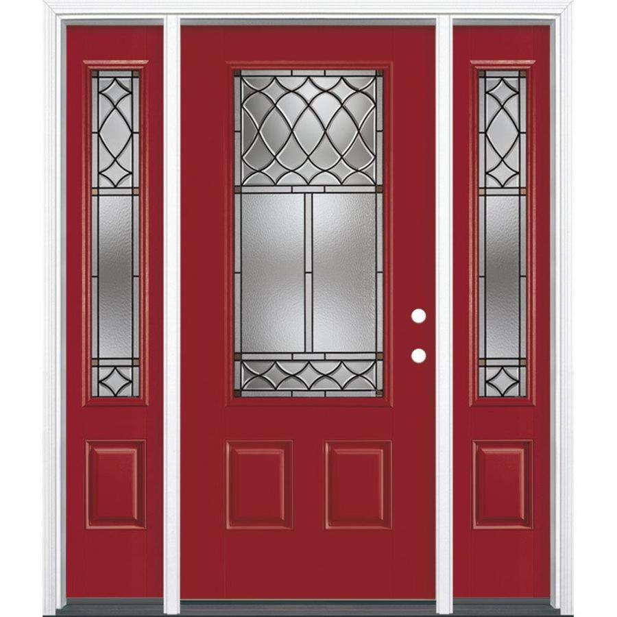 Masonite Sheldon Decorative Glass Left-Hand Inswing Roma Red Painted Fiberglass Prehung Entry Door with Sidelights and Insulating Core (Common: 64-in x 80-in; Actual: 37.5-in x 81.625-in)
