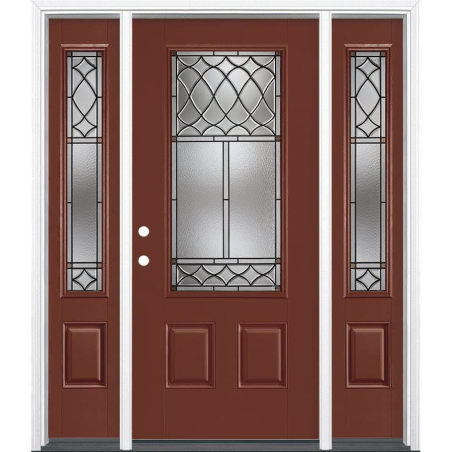 Masonite Sheldon Decorative Glass Right-Hand Inswing Fox Tail Painted Fiberglass Prehung Entry Door with Sidelights and Insulating Core (Common: 64-in x 80-in; Actual: 37.5-in x 81.625-in)