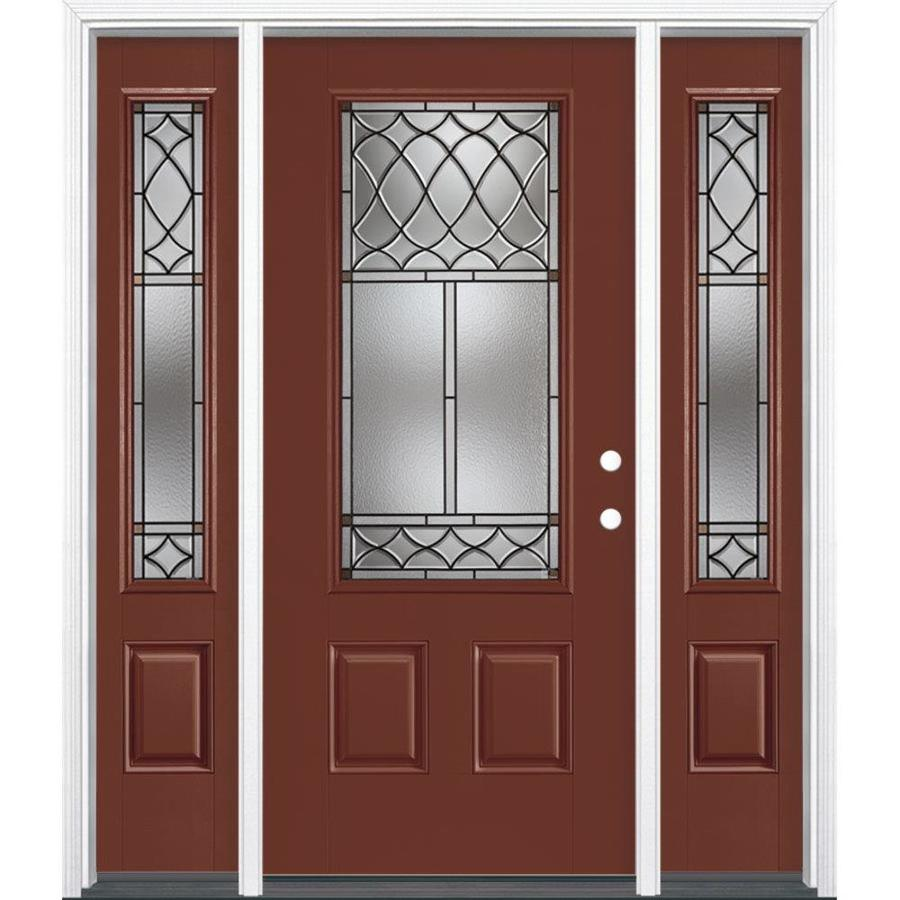 Masonite Sheldon Decorative Glass Left-Hand Inswing Fox Tail Painted Fiberglass Prehung Entry Door with Sidelights and Insulating Core (Common: 64-in x 80-in; Actual: 37.5-in x 81.625-in)