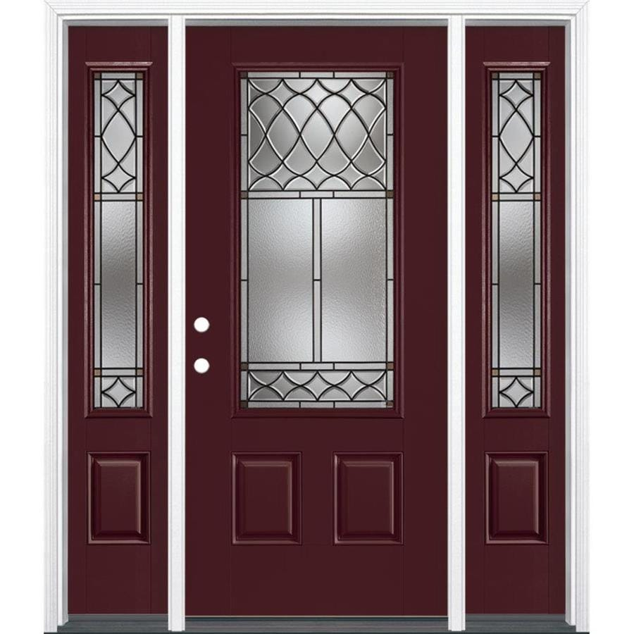 Masonite Sheldon 3-Panel Insulating Core 3/4 Lite Right-Hand Inswing Currant Fiberglass Painted Prehung Entry Door (Common: 36-in x 80-in; Actual: 37.5-in x 81.5-in)