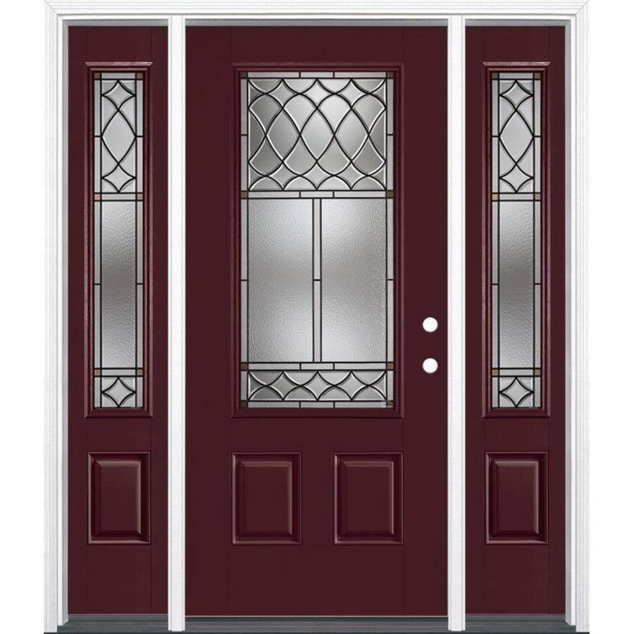 Masonite Sheldon Decorative Glass Left-Hand Inswing Currant Painted Fiberglass Prehung Entry Door with Sidelights and Insulating Core (Common: 64-in x 80-in; Actual: 37.5-in x 81.625-in)