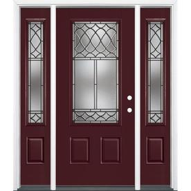 Masonite Sheldon Decorative Glass Painted Fiberglass Prehung Entry Door with Sidelights and Insulating Core (Common  sc 1 st  Loweu0027s & Shop Entry Doors at Lowes.com pezcame.com