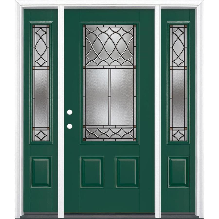 Masonite Sheldon Decorative Glass Right-Hand Inswing Evergreen Fiberglass Painted Entry Door (Common: 36-in x 80-in; Actual: 37.5-in x 81.5-in)