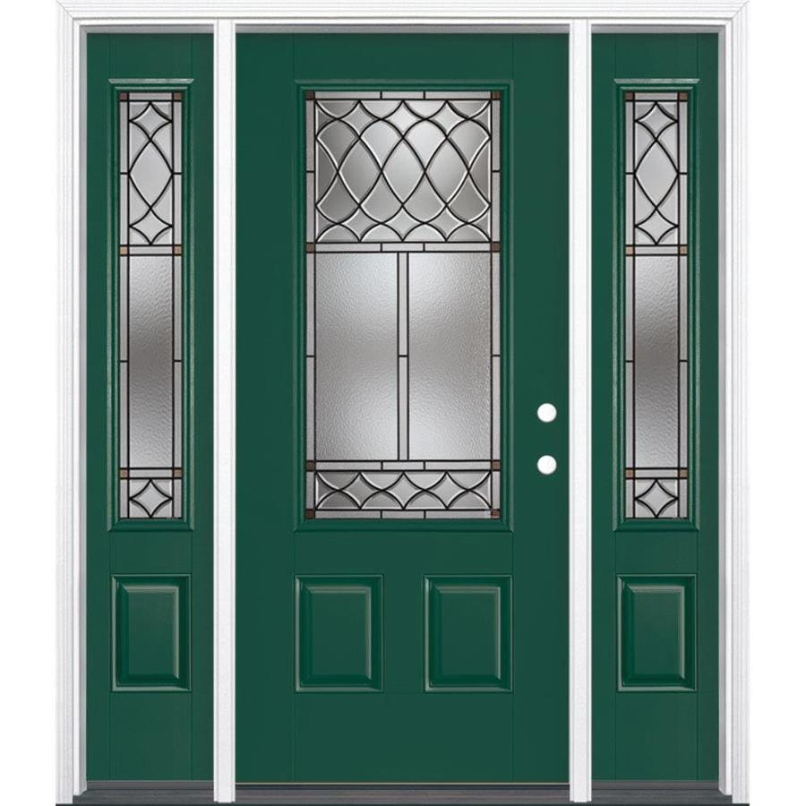 Masonite Sheldon Decorative Glass Left-Hand Inswing Evergreen Painted Fiberglass Prehung Entry Door with Sidelights and Insulating Core (Common: 64-in x 80-in; Actual: 37.5-in x 81.625-in)