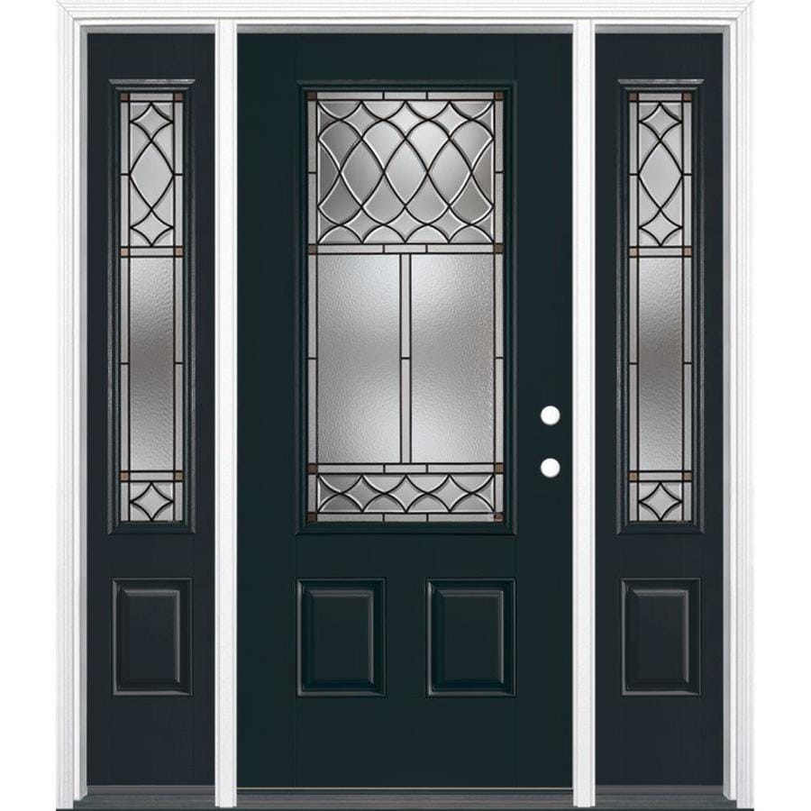 Masonite Sheldon Decorative Glass Left-Hand Inswing Eclipse Painted Fiberglass Prehung Entry Door with Sidelights and Insulating Core (Common: 64-in x 80-in; Actual: 37.5-in x 81.625-in)