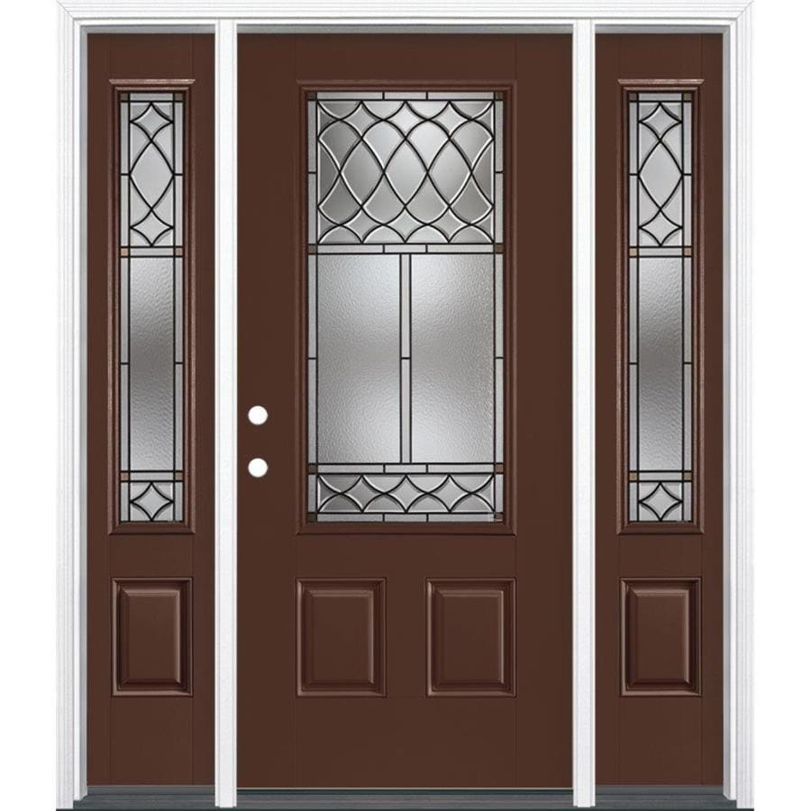 Masonite Sheldon Decorative Glass Right-Hand Inswing Chocolate Fiberglass Painted Entry Door (Common: 36-in x 80-in; Actual: 37.5-in x 81.5-in)