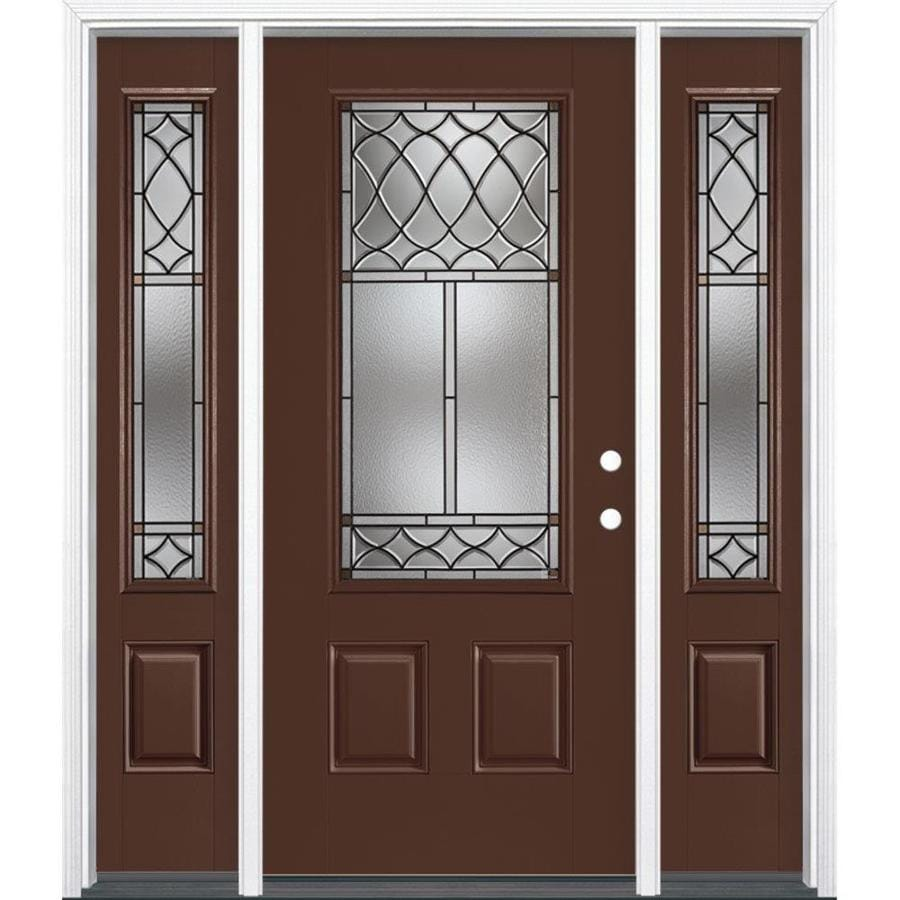 Masonite Sheldon Decorative Glass Left-Hand Inswing Chocolate Fiberglass Painted Entry Door (Common: 36-in x 80-in; Actual: 37.5-in x 81.5-in)
