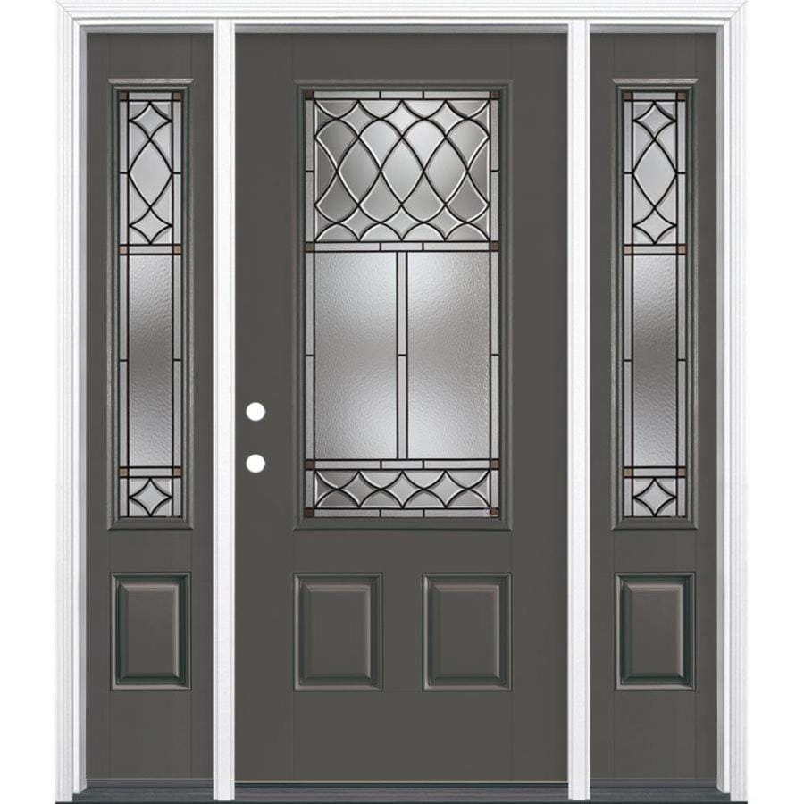 Masonite Sheldon Decorative Glass Right-Hand Inswing Timber Gray Painted Fiberglass Prehung Entry Door with Sidelights and Insulating Core (Common: 64-in x 80-in; Actual: 37.5-in x 81.625-in)
