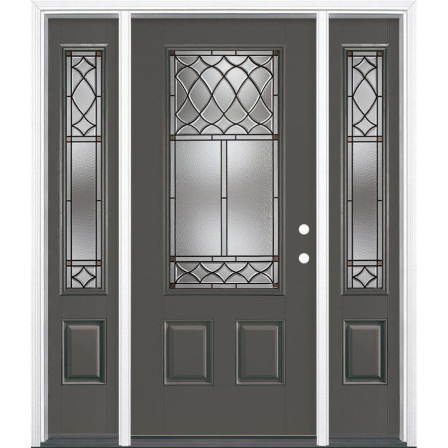 Masonite Sheldon Decorative Glass Left-Hand Inswing Timber Gray Painted Fiberglass Prehung Entry Door with Sidelights and Insulating Core (Common: 64-in x 80-in; Actual: 37.5-in x 81.625-in)