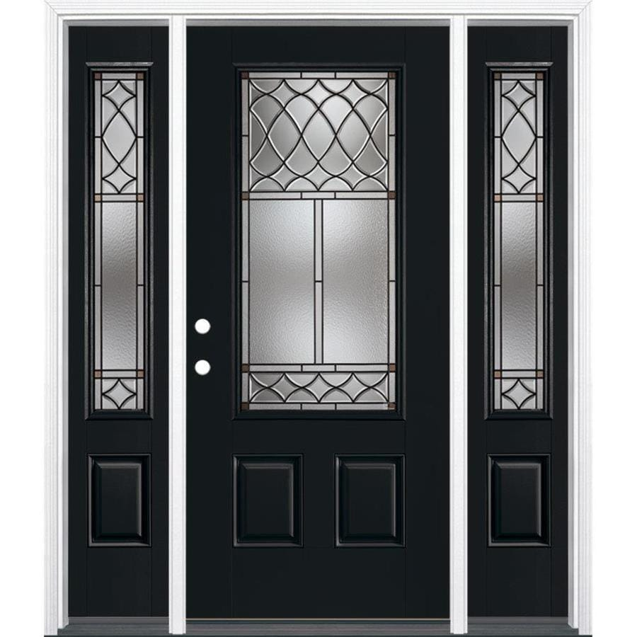 Shop masonite sheldon decorative glass right hand inswing peppercorn painted fiberglass prehung for Lowes exterior doors with sidelites