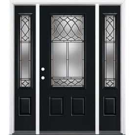 Masonite Sheldon Decorative Glass Painted Fiberglass Prehung Entry Door  With Sidelights And Insulating Core (Common