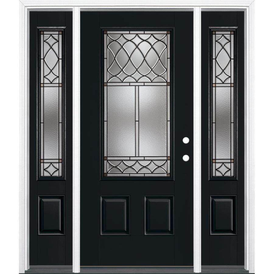 Masonite Sheldon Left Hand Inswing Peppercorn Painted Fiberglass Prehung  Entry Door With Sidelights And Insulating