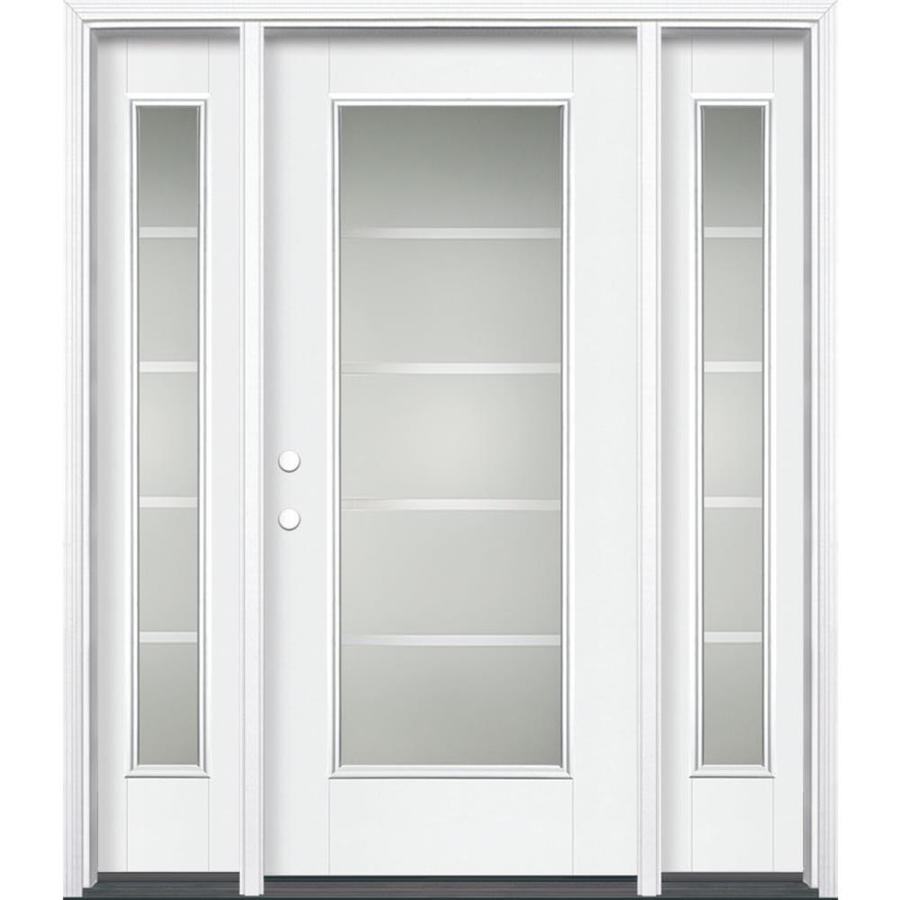 Masonite Crosslines Decorative Glass Right-Hand Inswing Arctic White Painted Fiberglass Prehung Entry Door with Sidelights and Insulating Core (Common: 64-in x 80-in; Actual: 37.5-in x 81.625-in)