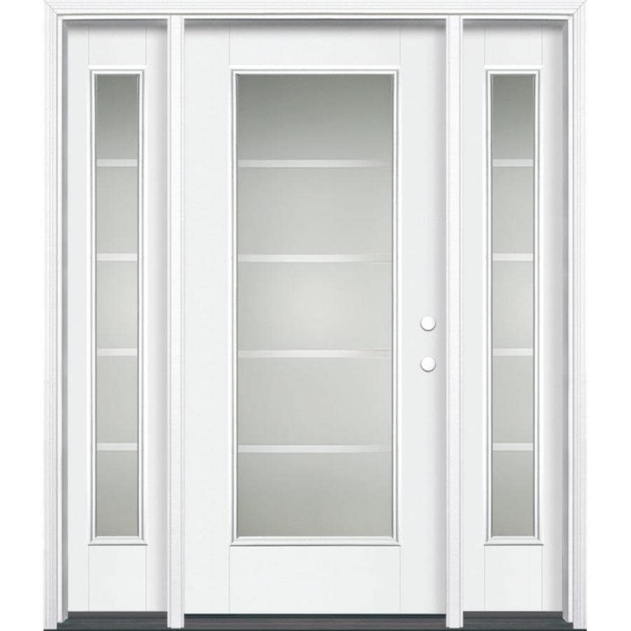Masonite Crosslines 1-panel Insulating Core Full Lite Left-Hand Inswing Artic White Fiberglass Painted Prehung Entry Door (Common: 36-in x 80-in; Actual: 37.5-in x 81.5-in)