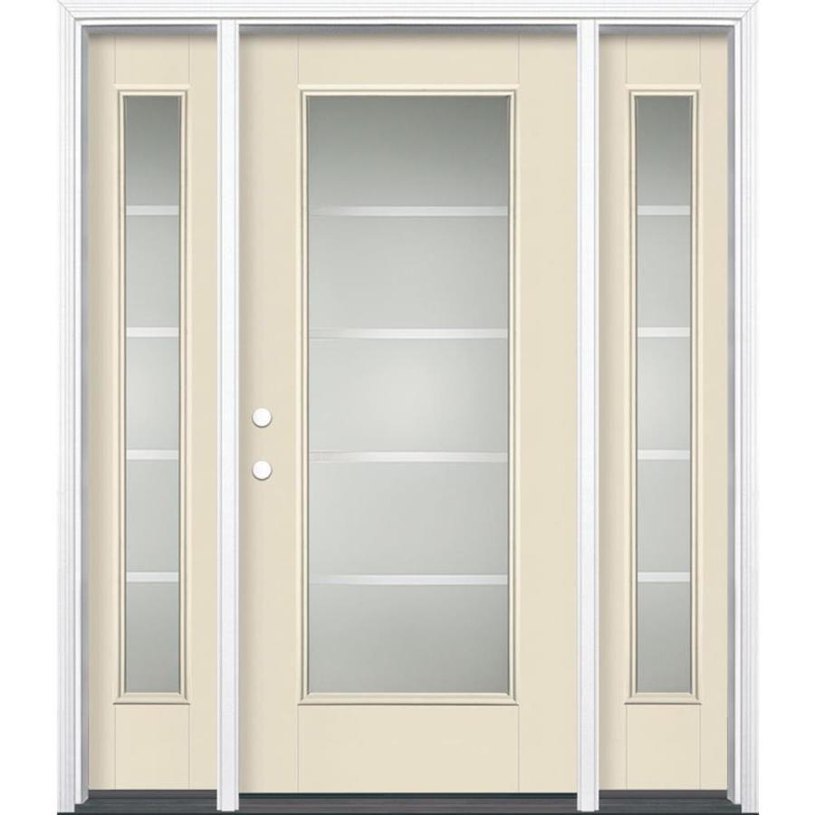 Masonite Crosslines Decorative Glass Right-Hand Inswing Bisque Fiberglass Painted Entry Door (Common: 36-in x 80-in; Actual: 37.5-in x 81.5-in)