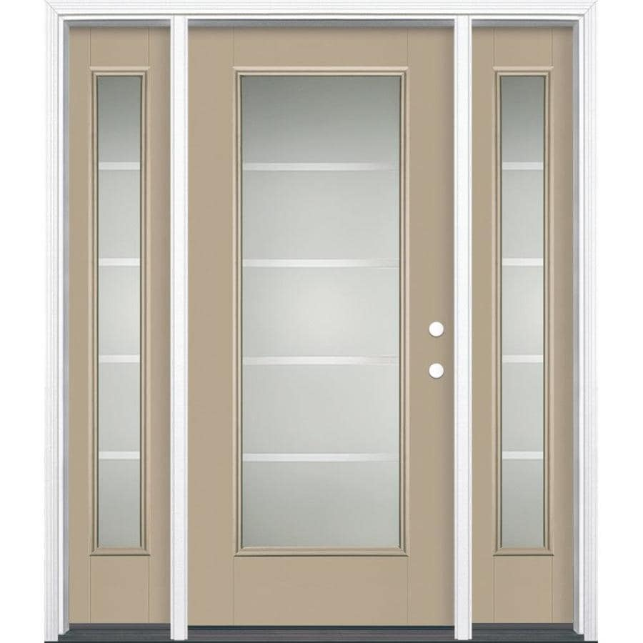 Masonite Crosslines Decorative Glass Left-Hand Inswing Fiberglass Prehung Entry Door with Sidelights and Insulating Core (Common: 64-in X 80-in; Actual: 37.5-in x 81.625-in)
