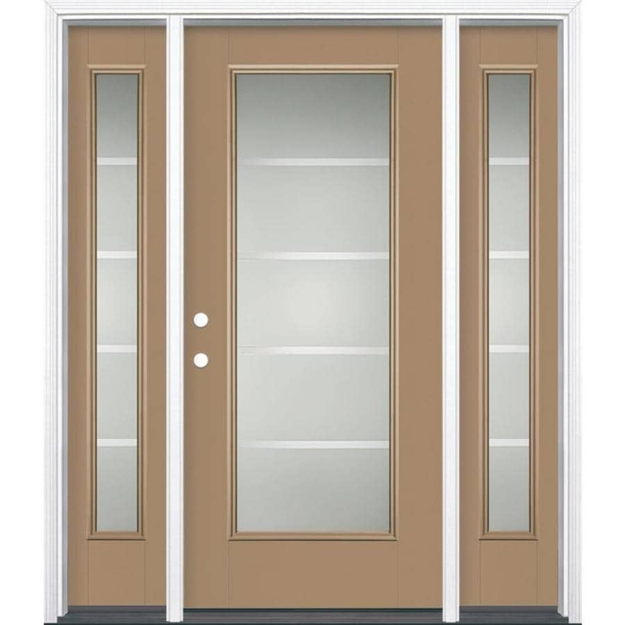 Masonite Crosslines 1-panel Insulating Core Full Lite Right-Hand Inswing Warm Wheat Fiberglass Painted Prehung Entry Door (Common: 36-in x 80-in; Actual: 37.5-in x 81.5-in)