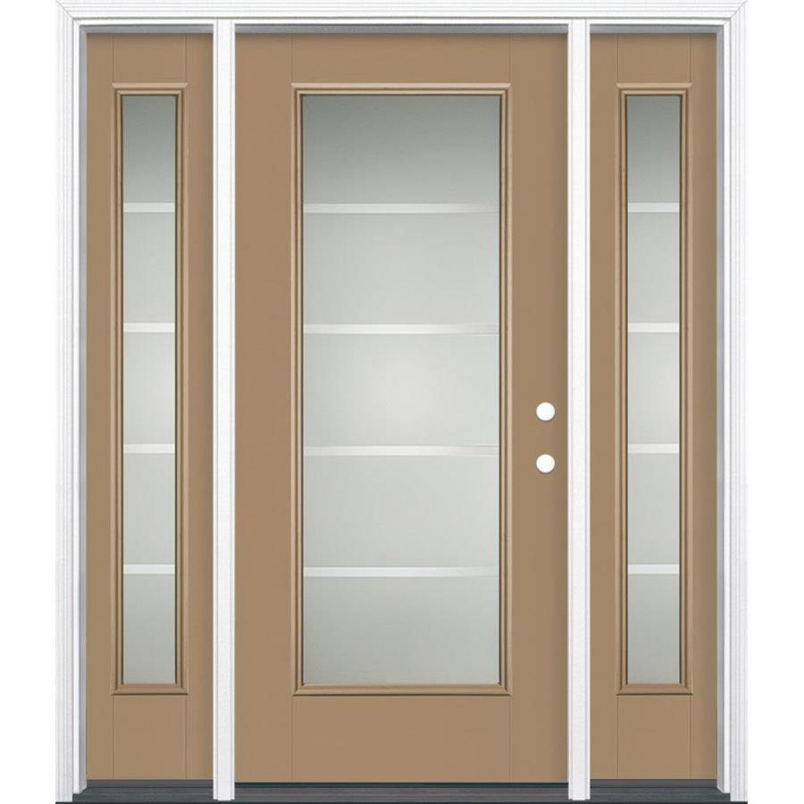 Masonite Crosslines Full Lite Privacy Glass Left-Hand Inswing Warm Wheat Painted Fiberglass Prehung Entry Door with Sidelights and Insulating Core (Common: 64-in X 80-in; Actual: 37.5-in x 81.625-in)