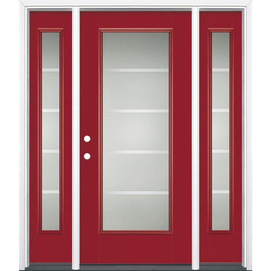 Masonite Crosslines Decorative Glass Right-Hand Inswing Roma Red Painted Fiberglass Prehung Entry Door with Sidelights and Insulating Core (Common: 64-in x 80-in; Actual: 37.5-in x 81.625-in)