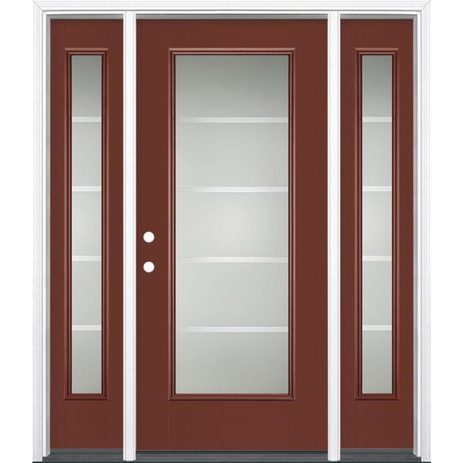 Masonite Crosslines 1-Panel Insulating Core Full Lite Right-Hand Inswing Fox Tail Fiberglass Painted Prehung Entry Door (Common: 36-in x 80-in; Actual: 37.5-in x 81.5-in)