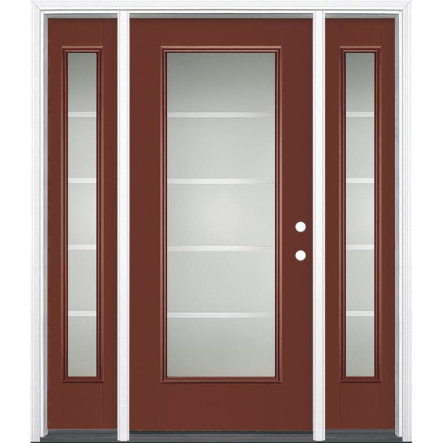 Masonite Crosslines Full Lite Privacy Glass Left-Hand Inswing Fox Tail Painted Fiberglass Prehung Entry Door With Sidelights Insulating Core (Common: 64-in X 80-in; Actual: 37.5-in x 81.625-in)