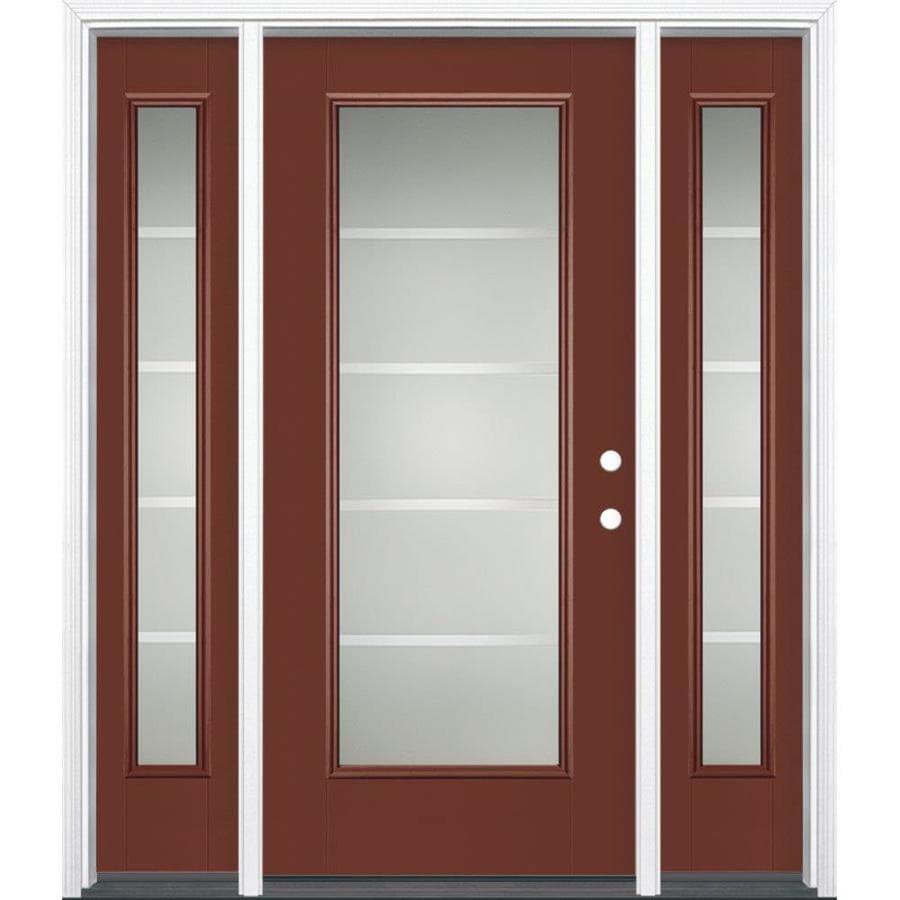 Shop Masonite Crosslines Decorative Glass Left Hand Inswing Fiberglass Prehung Entry Door With