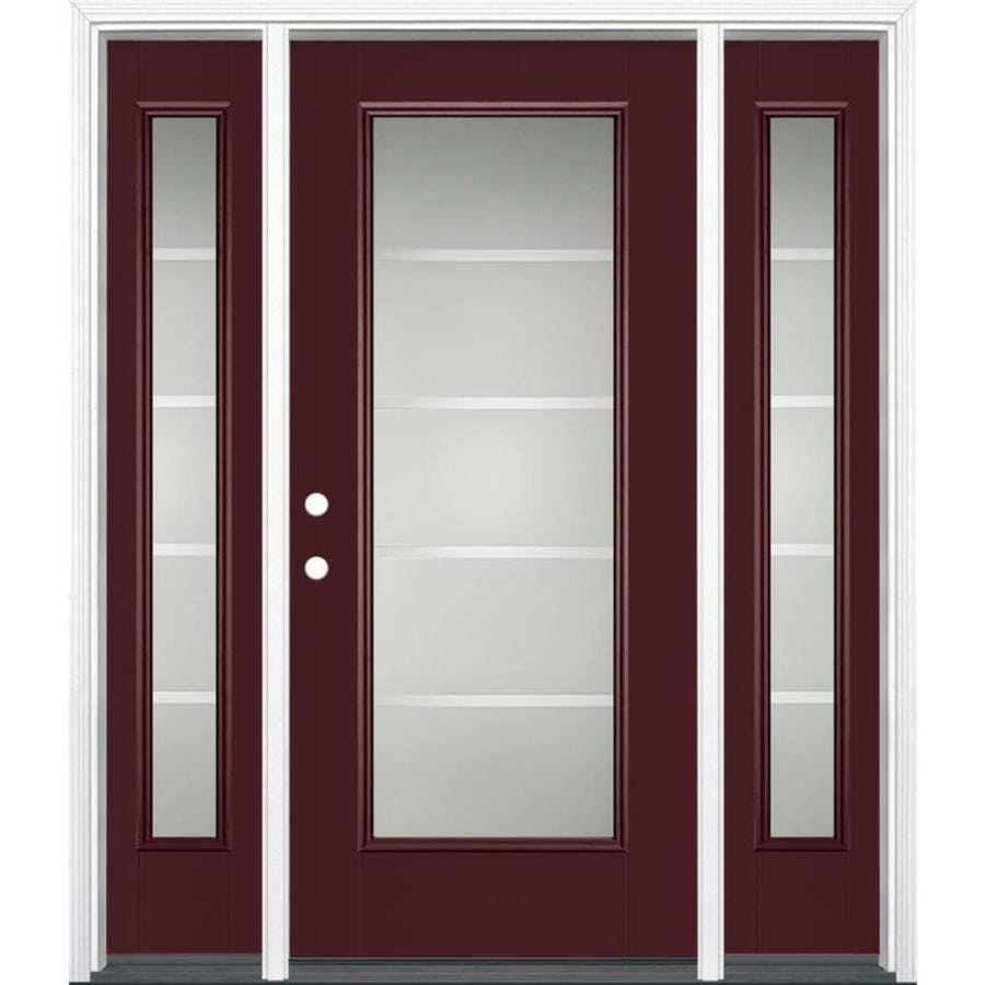 Masonite Crosslines Decorative Glass Right-Hand Inswing Currant Fiberglass Painted Entry Door (Common: 36-in x 80-in; Actual: 37.5-in x 81.5-in)