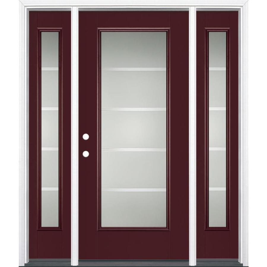 Shop Masonite Crosslines Decorative Glass Right Hand Inswing Currant Painted Fiberglass Prehung