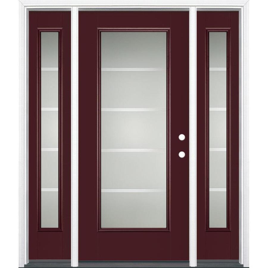Masonite Crosslines 1-Panel Insulating Core Full Lite Left-Hand Inswing Currant Fiberglass Painted Prehung Entry Door (Common: 36-in x 80-in; Actual: 37.5-in x 81.5-in)