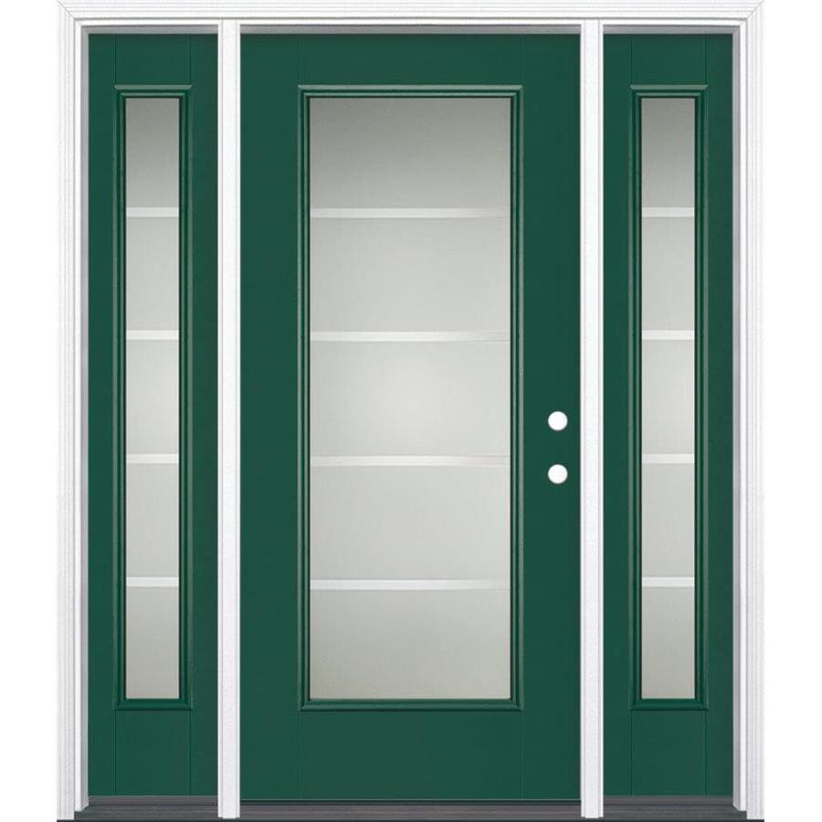 Masonite Crosslines Decorative Glass Left-Hand Inswing Evergreen Painted Fiberglass Prehung Entry Door with Sidelights and Insulating Core (Common: 64-in x 80-in; Actual: 37.5-in x 81.625-in)