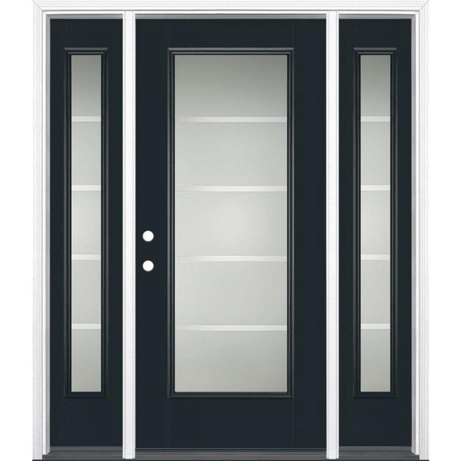Masonite Crosslines Decorative Glass Right-Hand Inswing Eclipse Painted Fiberglass Prehung Entry Door with Sidelights and Insulating Core (Common: 64-in x 80-in; Actual: 37.5-in x 81.625-in)