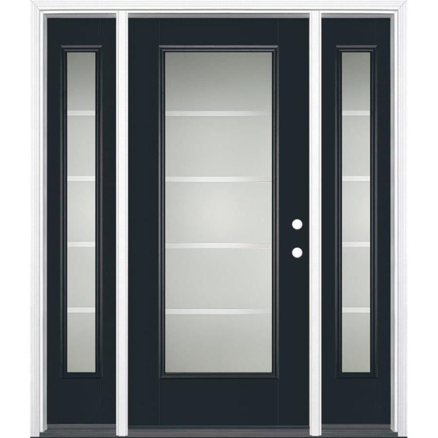 Shop masonite crosslines decorative glass left hand inswing fiberglass prehung entry door with for Lowes exterior doors with sidelites