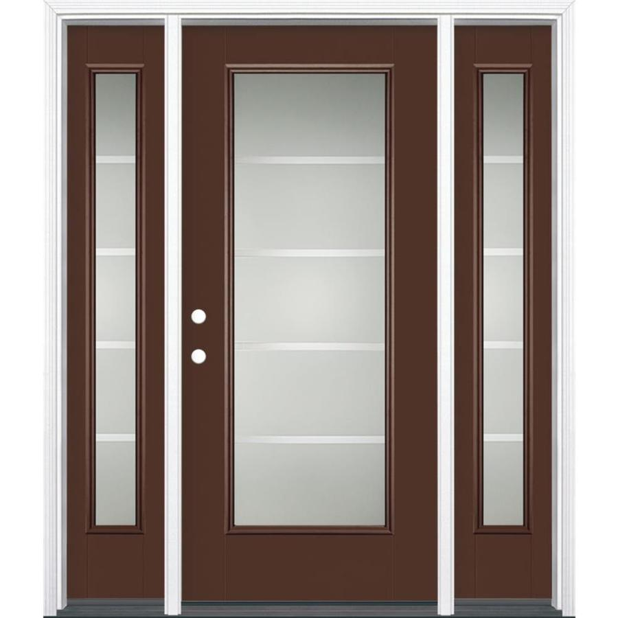 Masonite Crosslines Decorative Glass Right-Hand Inswing Chocolate Painted Fiberglass Prehung Entry Door with Sidelights and Insulating Core (Common: 64-in x 80-in; Actual: 37.5-in x 81.625-in)