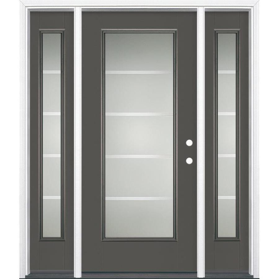 Masonite Crosslines Decorative Glass Left-Hand Inswing Timber Gray Painted Fiberglass Prehung Entry Door with Sidelights and Insulating Core (Common: 64-in x 80-in; Actual: 37.5-in x 81.625-in)