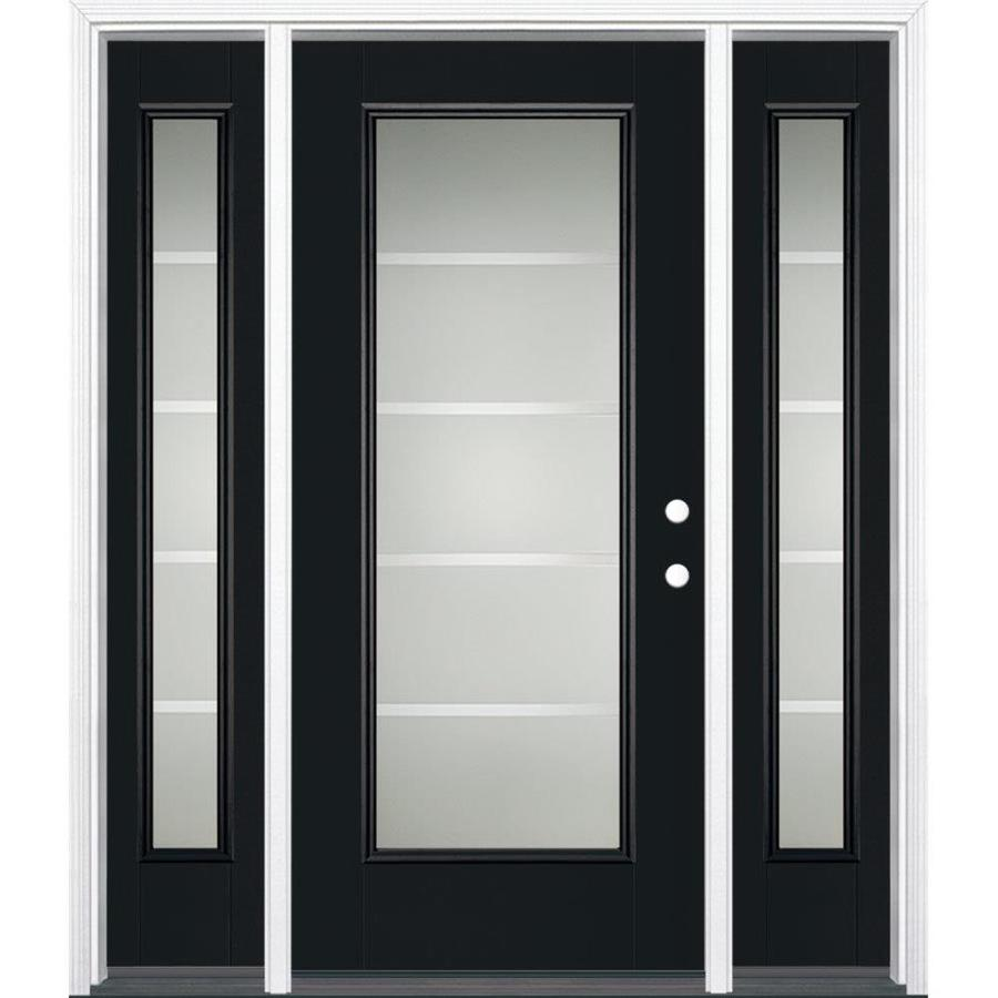 Masonite Crosslines Decorative Glass Left-Hand Inswing Peppercorn Painted Fiberglass Prehung Entry Door with Sidelights and Insulating Core (Common: 64-in x 80-in; Actual: 37.5-in x 81.625-in)