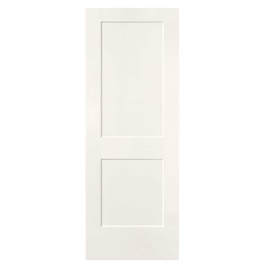 Shop Masonite Logan White Hollow Core 2 Panel Square Slab Interior Door Common 28 In X 80 In