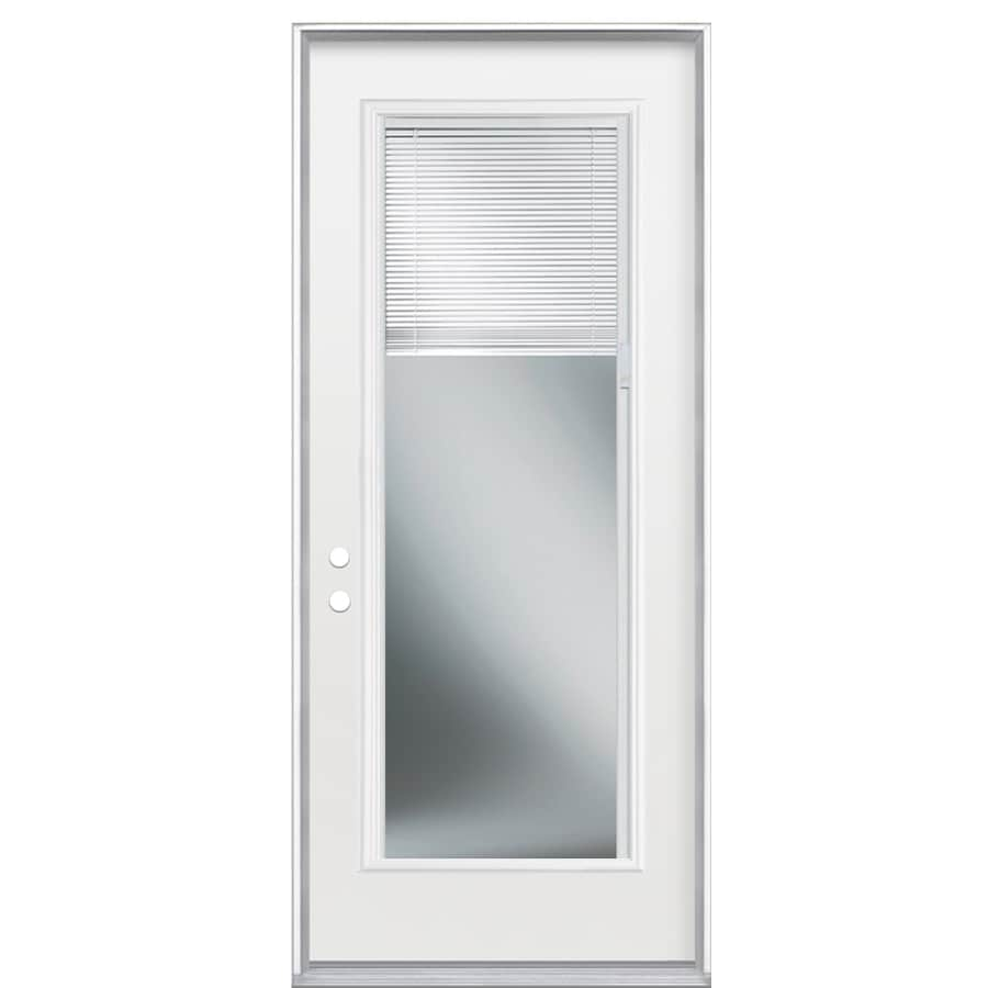 Masonite 2-Panel Insulating Core Blinds Between The Glass Full Lite Right-Hand Outswing Steel Primed Prehung Entry Door (Common: 32-in x 80-in; Actual: 33.5-in x 81.5-in)