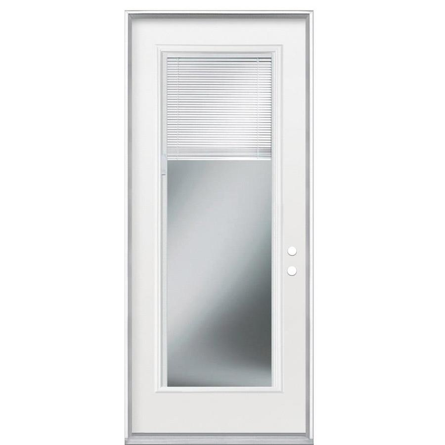 Masonite Blinds Between the Glass Left-Hand Outswing Primed Steel Entry Door with Insulating Core (Common: 32-in x 80-in; Actual: 33.5-in x 81.5-in)