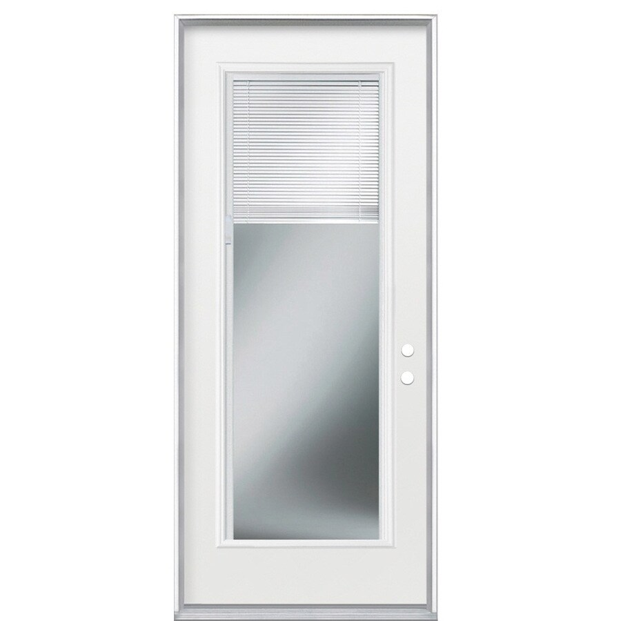 Masonite Blinds Between the Glass Left-Hand Outswing Primed Steel Prehung Entry Door with Insulating Core (Common: 36-in x 80-in; Actual: 37.5-in x 80.375-in)