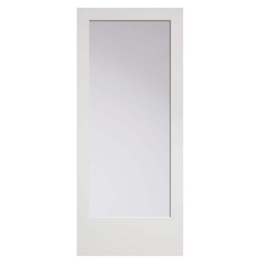 Shop masonite primed solid core clear glass mdf barn door for Mdf solid core interior doors