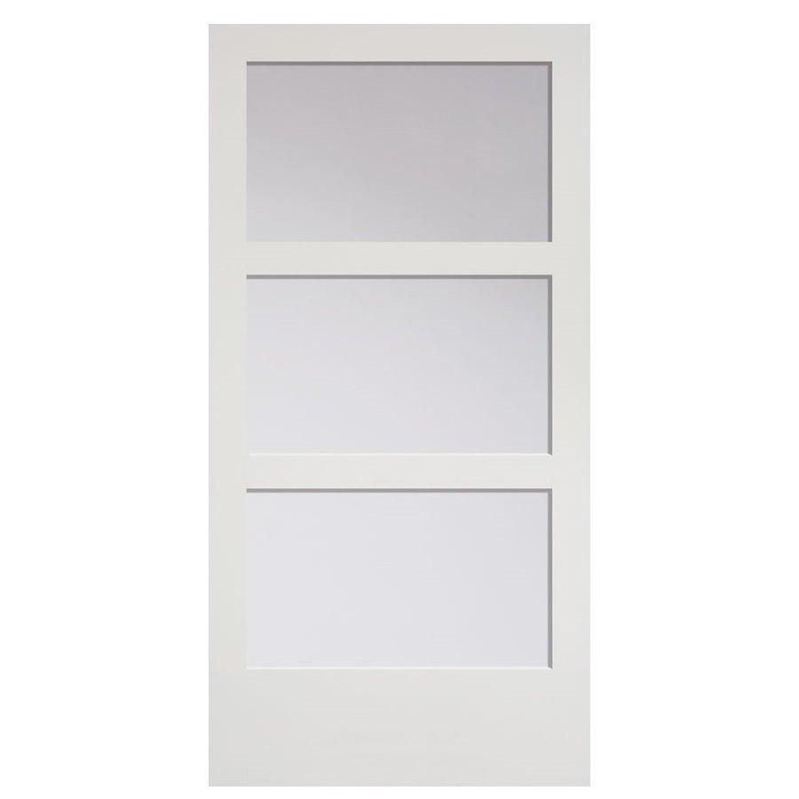Masonite 36 In X 84 In Primed 3 Lite Equal Solid Wood: Masonite Primed MDF Barn Door (Common: 42-in X 84-in